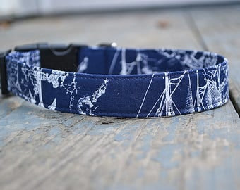 Navy Blue Dog Collar, Sea Map with Ships and Anchors
