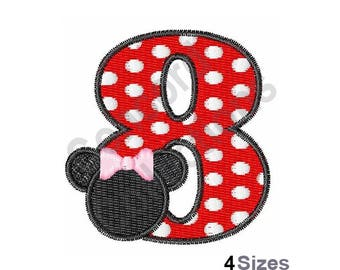 Number 8 - Machine Embroidery Design, Minnie Mouse - Machine Embroidery Design