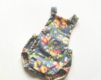 Floral romper, summer romper, girls romper, romper, overall, blue and mustard floral, vintage floral