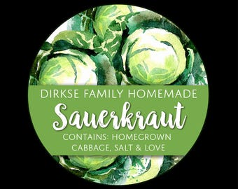 Customized Sauerkraut Canning Label - Custom Sauerkraut Label - Watercolor Style Canning Jar Label - Wide Mouth & Regular Mouth