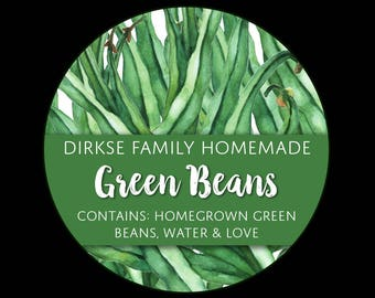 Customized Label - Green Beans, Watercolor Style Label - Watercolor Canned Green Beans Label - Custom Labels