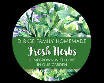 Customized Label -Fresh Herbs, Watercolor Style Label - Watercolor Herb Labels - Custom Labels