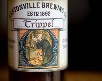 Customized Beer Label - Belgian Style - Monk Sneaking Beer - Vintage Design Custom Homebrew Label for Your Homemade Craft Beer