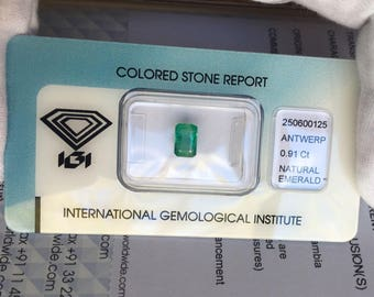 Natural Loose Zambian Emerald 0.91ct Green IGI CERTIFIED Blister RARE Gem