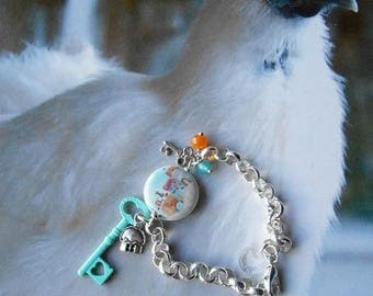 Bracelet Bohemian crystal - silver metal chain - Perle porcelain - charms silver cottage, keys and glass beads