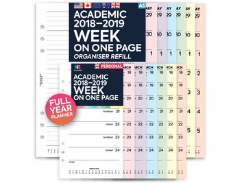 PRINTED Academic 2018–2019 Week on one page organiser Insert A5 / Personal Filofax A5 Kikki.K Large Compatible Refill Coloured WO1P