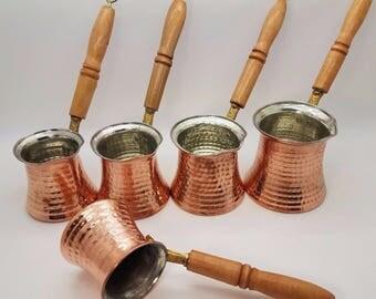 Authentic Turkish Coffee Pot, Hand hammered Copper Jazwa, Ibrik, for Turkish Arabic Greek Coffee