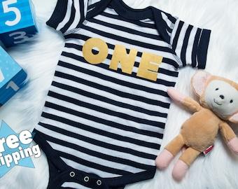 First birthday outfit, 1st Birthday Onesie, First Birthday onesie, Stripe onesie, 1st birthday shirt