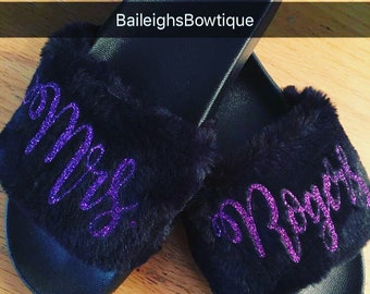 Fur sandals, Bridal Party sandals, birthday sandals