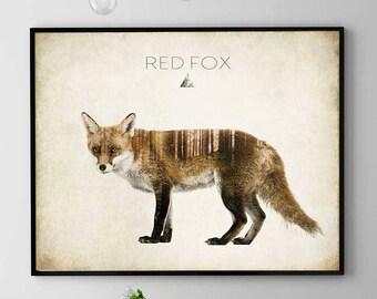 Fox Art Print, Woodland Animals Print, Fox Wall Art, Fox Poster, Forest Spirit Fox, Red Fox Painting, Home Decor, Kids Room (N426)