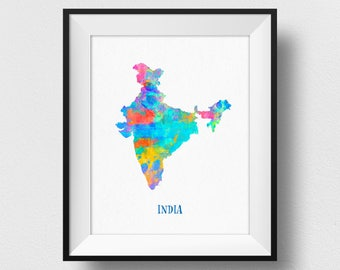 India Map Wall Art, India  Map Print, Map Of India  Poster, Watercolour India  Continent Map, Home Decor, Nursery India Theme (723)