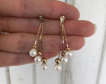 Vintage Gold & Pearl Dangle Earrings