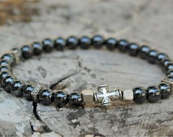 Mens Hematite Bracelet Mens Cross Bracelet Mens Protection Bracelet Healing Bracelet Surfer Bracelet Healing Bracelet Hematite Jewelry