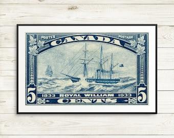 P046 Royal William, sailing ships, wooden ships, antique ships, sailing ship prints, 1930s, Canada Stamp Art, postal art, art posters