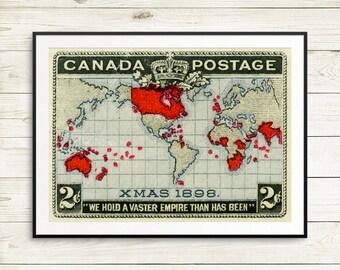P028 Xmas 1898, Canada Christmas, Christmas Stamp, Canada Xmas stamp, 1800s art, Vintage poster, Vintage Christmas, Antique Christmas