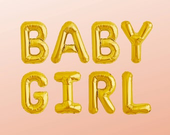"BABY GIRL Letter Balloons | 16"" Gold Letter Balloons 
