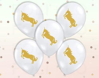 "CLEAR Unicorn BALLOONS | Unicorn Theme Balloons | Gold Color Theme Party | 11"" Latex Balloon Set | Set of 5"