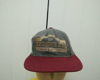 Rare Vintage WASHINGTON STATE UNIVERSITy Of Cougars Embroidered Cap Hat Free size fit all Made in USA