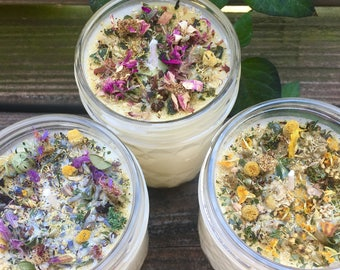 All Natural Aromatherapy Candle with Organic Herbs & Flowers - Customizable Candle - Aromatherapy Candle
