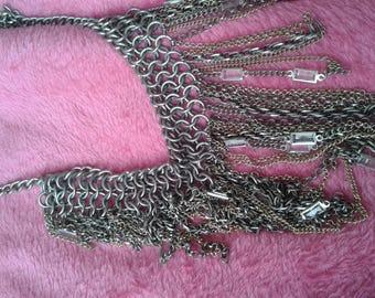 chain unique necklace with glass squares