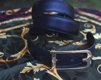 "Burberry"" - real leather belt, unisex, black, 85cm, gold"