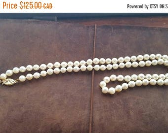 ON SALE Vintage Pearl Necklace with 14k Clasp