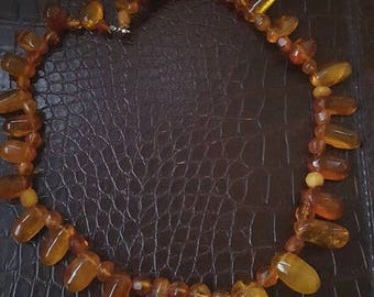 ON SALE Vintage Amber Bead Necklace