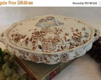 SALE Antique Aesthetic Movement Oval Covered Serving Bowl- Edge Malkin & Co. Newport Pattern, Brown Transfer