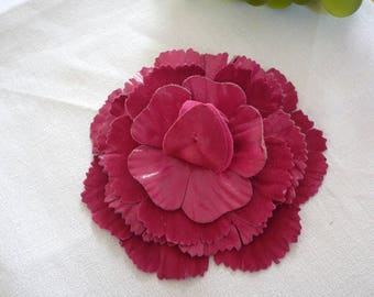Hot pink leather flower brooch
