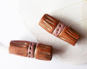 Beads tube craft red earthenware, weathered raw, unique pieces to design jewelry