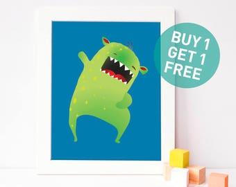 funny nursery art - funny art for boy - boys room decor - funny nursery print - monster printable - blue nursery - monster art - happy kids
