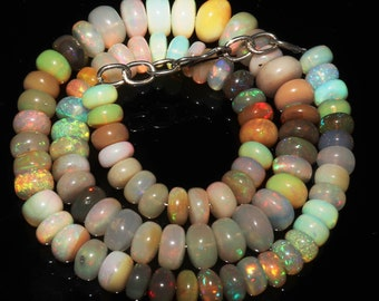 """132 Ctw 1Necklace 7to10 mm 15"""" Beads Natural Genuine Ethiopian Welo Fire Opal 11253"""