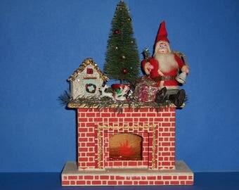 Vintage Santa on Fireplace,Vintage Christmas, Handmade Christmas, Paper Mache Santa, 1930's Santa, 1950's  Christmas, Cardboard Fireplace