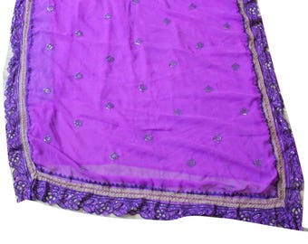 Embroidered Fabric Dress Women Used Saree Indian Vintage Craft Fabric Home Decor Purple Fabric Sari Curtain Drape 5YD Recycled Fabric