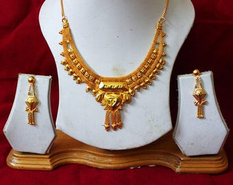 Indian Necklace Set Earrings Bridal Indian jewelry,Fine Gold Necklace,Indian Jewelry,Fine Estate Jewelry Traditional Bridal Necklace Set