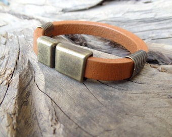 EXPRESS SHIPPING,Men's Leather Bracelet,Camel Leather,Men's Jewelry,Antiquing Magnetic Clasp,Cuff Bracelet,Gift for Him,Christmas Gifts