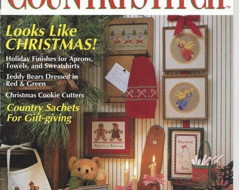 Country Stitch Magazine Premier Collector's Issue 1990 Christmas Patterns and Instructions Cross Stitch Teddy Bears Holiday Finishes