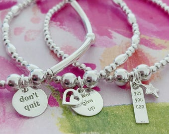 MOTIVATION STACK OF 3 Sterling Silver Quote Charm Bracelets