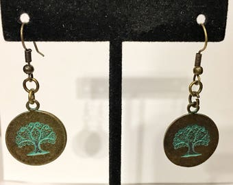 Antique bronze and turquoise tree of life dangle earrings