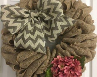 Burlap Hydrangea Wreath