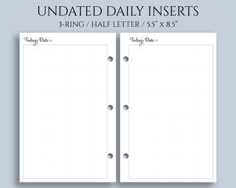 "Undated Daily Planner Inserts, DO1P w/ Large Dot Grid Notes Section ~ Half Letter / 5.5"" x 8.5"" / Mini 3-Ring (3RM-DV5-U)"