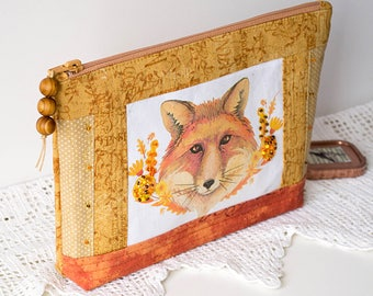 Fox quilted cosmetic bag Beige floral makeup case Zipper pouch gold flowers organizer Woodland animal toiletry bag beauty case