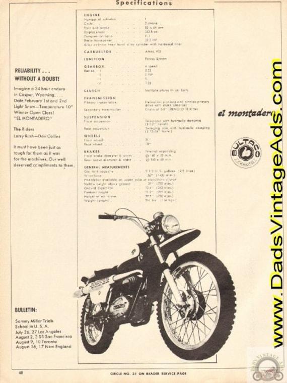 1969 Bultaco El Montadero Motorcycle specifications Ad #e69ha02