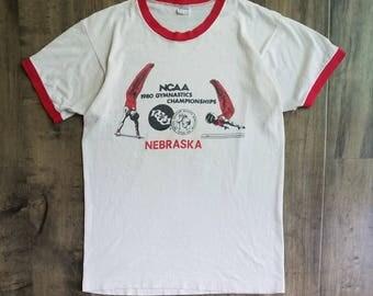 Champion 1980 NCAA Gymnastics Championships Tee Size M, 80s Nebraska Ringer Tee Made In USA