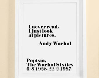 Andy Warhol Quot , Printable Quotes, Scandinavian, Andy Warhol Art, Pop art, Affiche Decor, Home Wall Art, Warhol Print