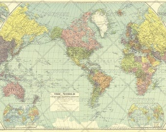 National Geographic World Hanging Map 1932