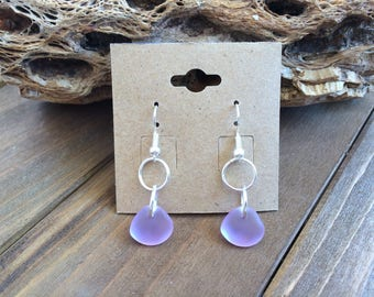 Sea Glass Earrings, Lavender Sea Glass Earrings, Beach Glass Earrings, Purple Drop Earrings, Dangle Earrings