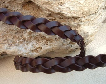50cm width 13mm brown color leather braided cord