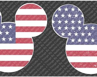 Distressed and Regular Patriotic Mickey Head SVG