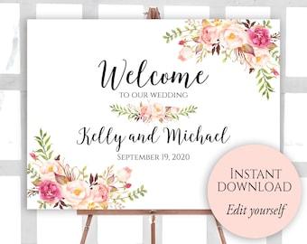 welcome sign template welcome bridal shower sign bridal. Black Bedroom Furniture Sets. Home Design Ideas